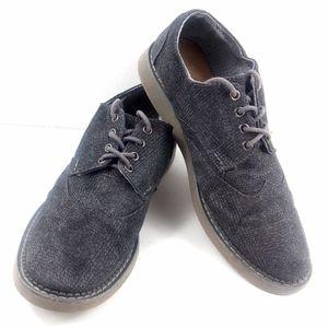 Toms Glen Check Grey Canvas Wingtip Shoes Sz 10
